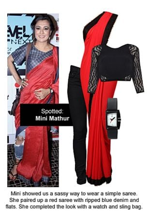 Red Sarees, Black Blouses, Black Jeans with Black Wrist Watches. Online shopping look by Ojasvi