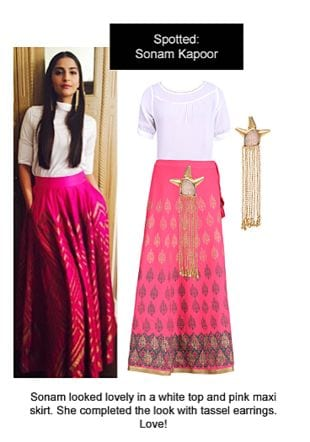 White Tops, Pink Skirts with Gold Earrings. Online shopping look by Ojasvi
