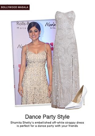 White Dresses with Silver Pumps. Online shopping look by jiya