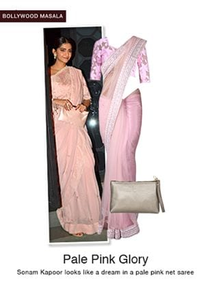 Pink Blouses, Silver Pouches with Pink Sarees. Online shopping look by jiya