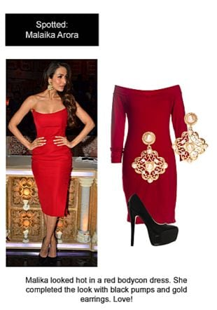 Red Dresses, Black Pumps with Gold Earrings. Online shopping look by Ojasvi