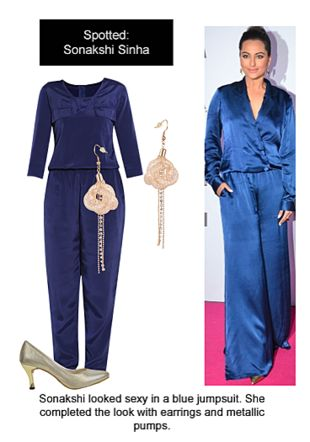 Blue Jumpsuits, Silver Pumps with Gold Earrings. Online shopping look by Ojasvi