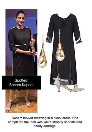 Black Kurtas, White Sandals with Gold Earrings. Online shopping look by Ojasvi