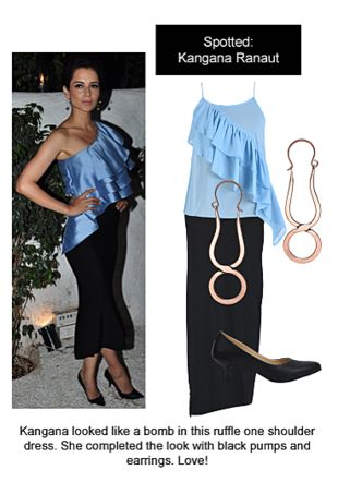 Blue Tops, Black Skirts, Black Pumps with Gold Earrings. Online shopping look by Ojasvi