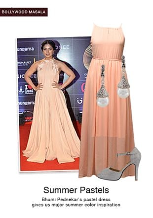 Pink Dresses, Silver Pumps with White Earrings. Online shopping look by smriti
