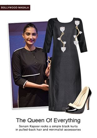 Black Kurtas, Gold Earrings with Black Pumps. Online shopping look by gurkiran
