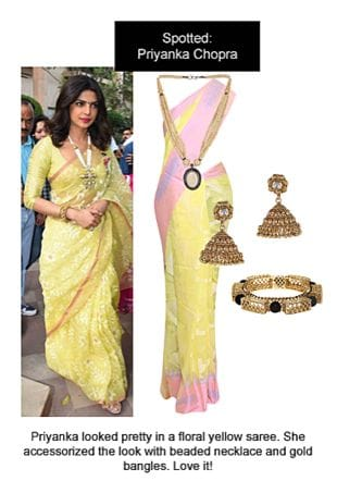 Yellow Sarees, White Necklaces, Gold Earrings with Gold Bangles. Online shopping look by Ojasvi