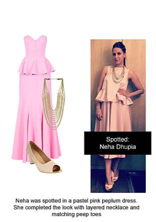 Pink Dresses, White Pumps with Gold Necklaces. Online shopping look by Ojasvi