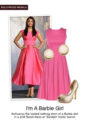 Pink Dresses, Gold Earrings with Gold Sandals. Online shopping look by shilpi