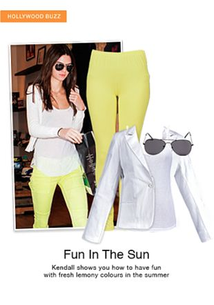 Yellow Leggings, White Camisoles, Multi Sunglasses with White Blazers. Online shopping look by jiya