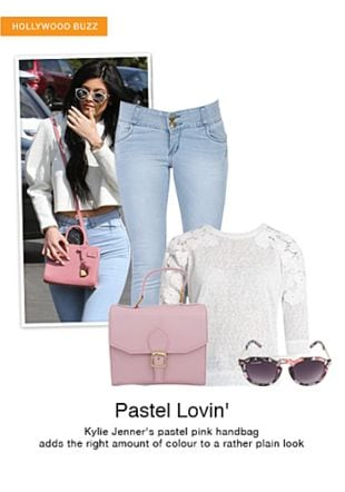 Blue Jeans, Black Sunglasses, Pink Sling Bags with White Tops. Online shopping look by gurkiran