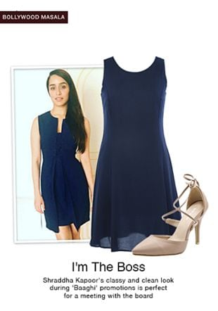 Blue Dresses with Beige Pumps. Online shopping look by pavani