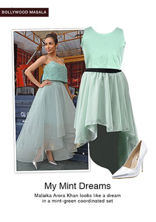 Green Skirts, Silver Pumps with Green Tops. Online shopping look by sheena