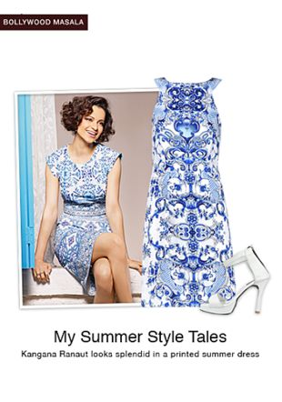 Blue Dresses with White Sandals. Online shopping look by shilpi