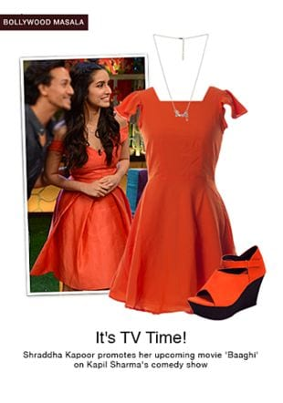 Orange Dresses, Silver Necklaces with Orange Wedges. Online shopping look by shilpi