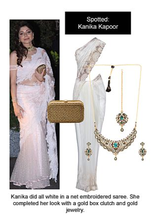 White Sarees, Multi Pendants with Gold Clutches. Online shopping look by Ojasvi