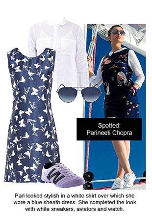 White Tops, Blue Dresses, Blue Sunglasses with White Sports Shoes. Online shopping look by Ojasvi