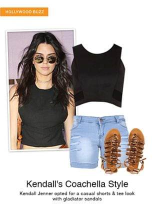 Blue Shorts, Brown Sandals with Black Tops. Online shopping look by monica