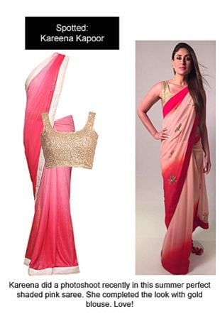 Pink Sarees with Gold Blouses. Online shopping look by Ojasvi