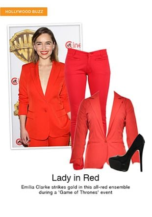 Red Blazers, Red Trousers with Black Pumps. Online shopping look by sheena
