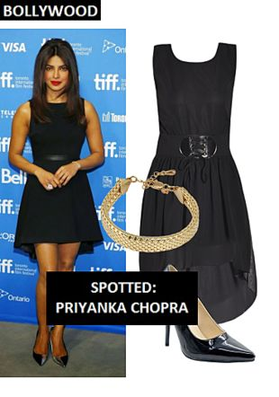 Black Dresses, Black Pumps with Gold Bracelets. Online shopping look by Shweta