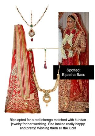 Red Lehengas, Multi Others with Gold Pendants. Online shopping look by Ojasvi