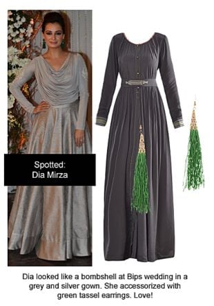 Grey Dresses with Green Earrings. Online shopping look by Ojasvi