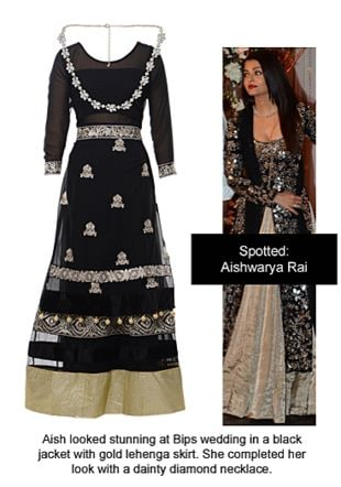 Black Lehengas with Silver Necklaces. Online shopping look by Ojasvi