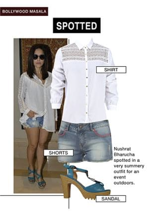 White Shirts, Blue Shorts with Blue Sandals. Online shopping look by gurkiran