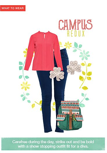 Mid Rise Blue Jeans, Red Tops with Crystal Silver Earrings. Online shopping look by chinnala