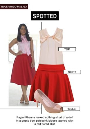 Pink Tops, Red Skirts with Beige Pumps. Online shopping look by gurkiran