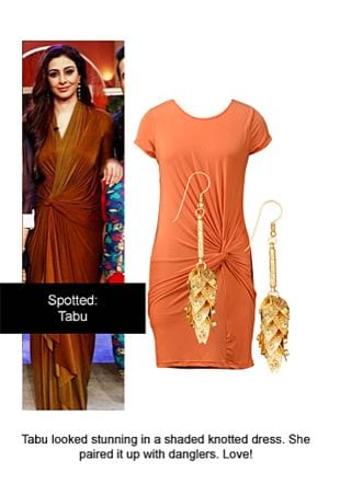 Orange Dresses with Gold Earrings. Online shopping look by Ojasvi