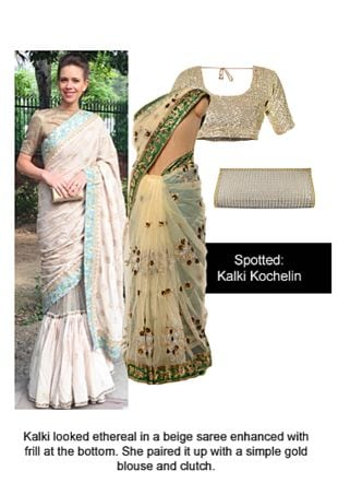 White Sarees, Gold Clutches with Gold Blouses. Online shopping look by Ojasvi