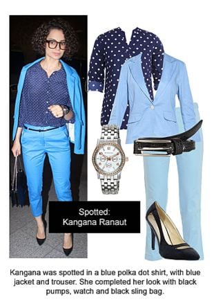 Blue Shirts, Blue Trousers, Blue Blazers, Black Pumps, Silver Watches with Black Belts. Online shopping look by Ojasvi