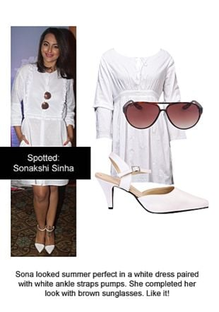 White Dresses, White Pumps with Brown Sunglasses. Online shopping look by Ojasvi