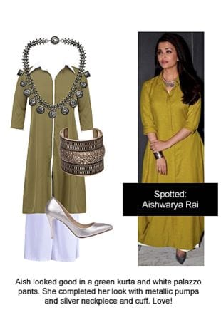 Green Kurtas, White Palazzos, Silver Pumps, Silver Necklaces with Silver Bracelets. Online shopping look by Ojasvi