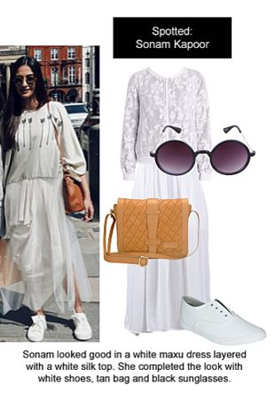 White Dresses, White Jackets, White Sneakers, Black Sunglasses with Brown Sling Bags. Online shopping look by Ojasvi