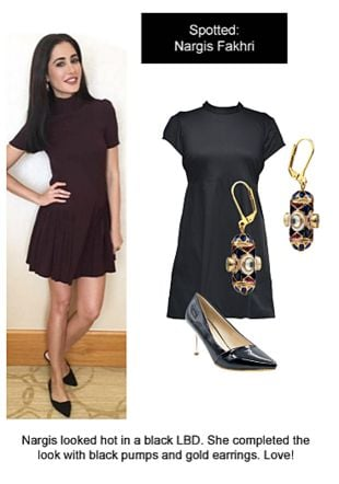 Black Dresses, Black Pumps with Multi Earrings. Online shopping look by Ojasvi