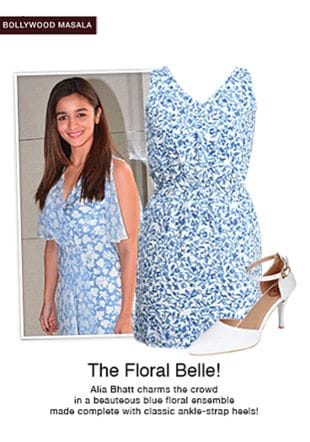 Blue Dresses with White Sandals. Online shopping look by pavani