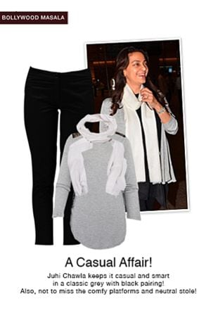 White Scarves, Black Trousers with Grey Tops. Online shopping look by pavani