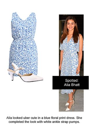 Blue Dresses with White Pumps. Online shopping look by Ojasvi