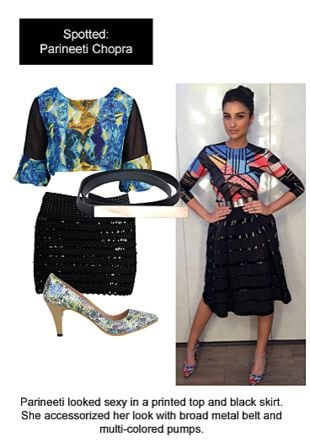 Multi Tops, Black Skirts, Multi Pumps with Black Belts. Online shopping look by Ojasvi