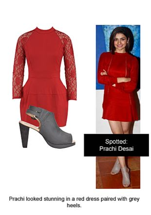 Red Dresses with Grey Sandals. Online shopping look by Ojasvi