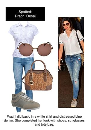White Shirts, Blue Jeans, Grey Sports Shoes & Sneakers, Brown Sunglasses with Brown Handbags. Online shopping look by Ojasvi