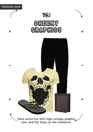 Others T Shirts, Black Casual Trousers, Grey Slippers And Flip Flops with Brown Wallets. Online shopping look by khushboo