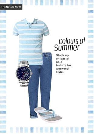 Multi Slippers And Flip Flops, Blue T Shirts, Blue Jeans with Blue Analog Watches. Online shopping look by khushboo