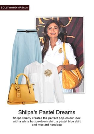 Black Belts, Gold Brooches, Yellow Handbags, White Shirts with Blue Skirts. Online shopping look by sheena