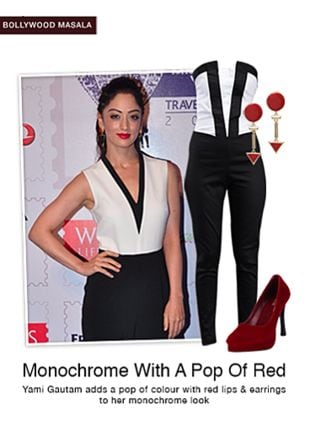 Black Jumpsuits, Red Earrings with Red Pumps. Online shopping look by sheena