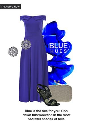Blue Dresses, Gold Clutches with Black Sandals. Online shopping look by Aash
