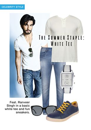 White T Shirts, Others Jeans, Blue Sneakers, White Analog Watches with Black Sunglasses. Online shopping look by khushboo